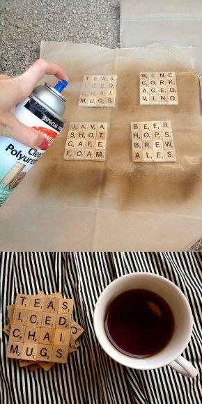 DIY Scrabble onderzetters